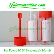 Pot Feces 30 Ml Bersendok Merah