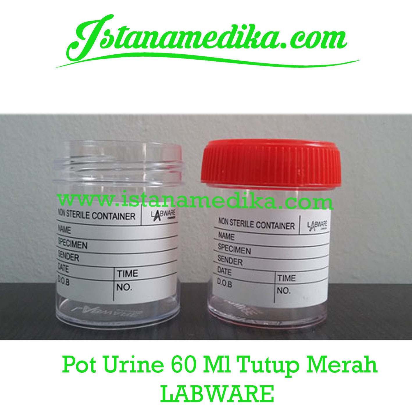 Pot Urine 60 Ml Tutup Merah LABWARE