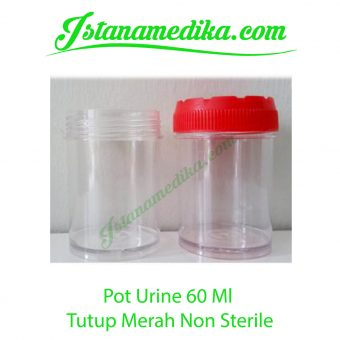 Pot Urine 60 Ml Tutup Merah Non Sterile